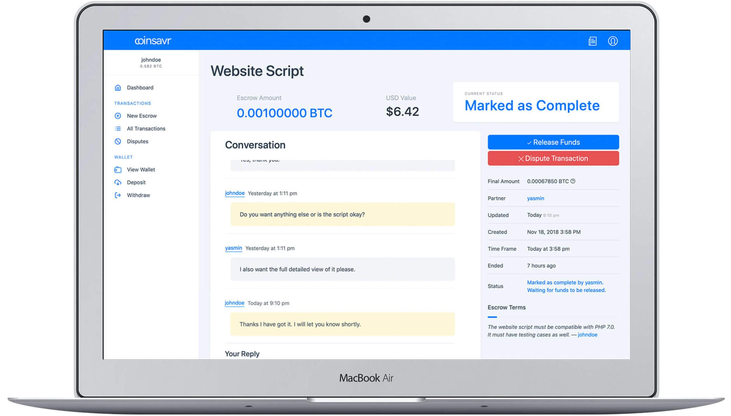 Online bitcoin escrow service using Coinsavr
